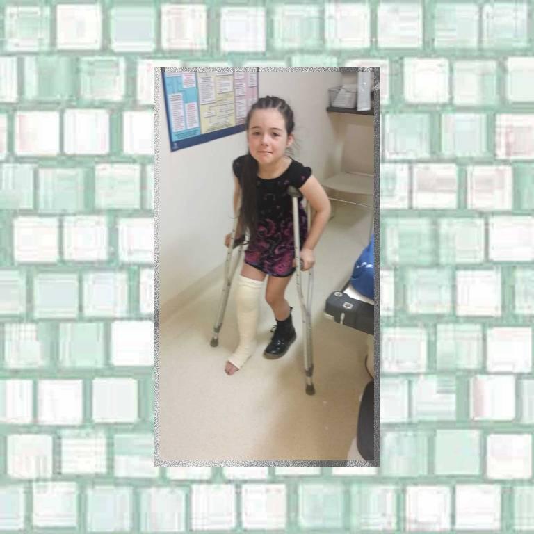 Tookii using crutches
