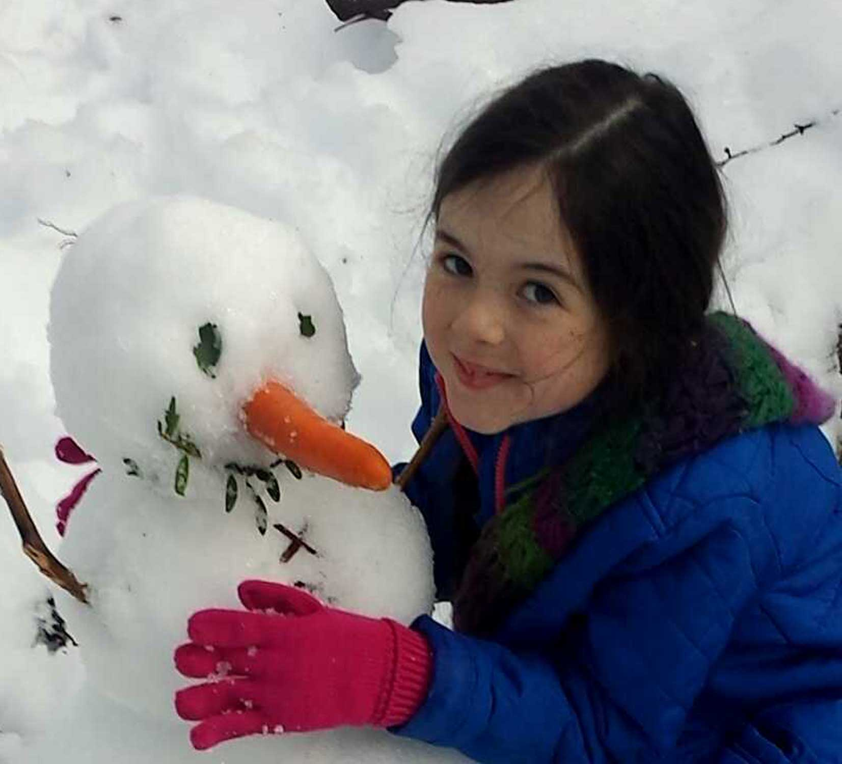 Tookii things to do with kids with her snowman one of the outdoor activities for kids