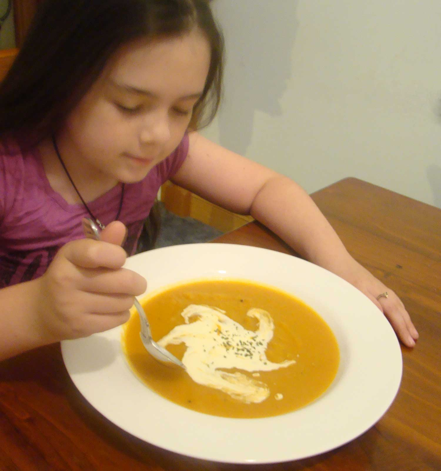 Tookii things to do with kids eating pumpkin soup one of the activities for kids