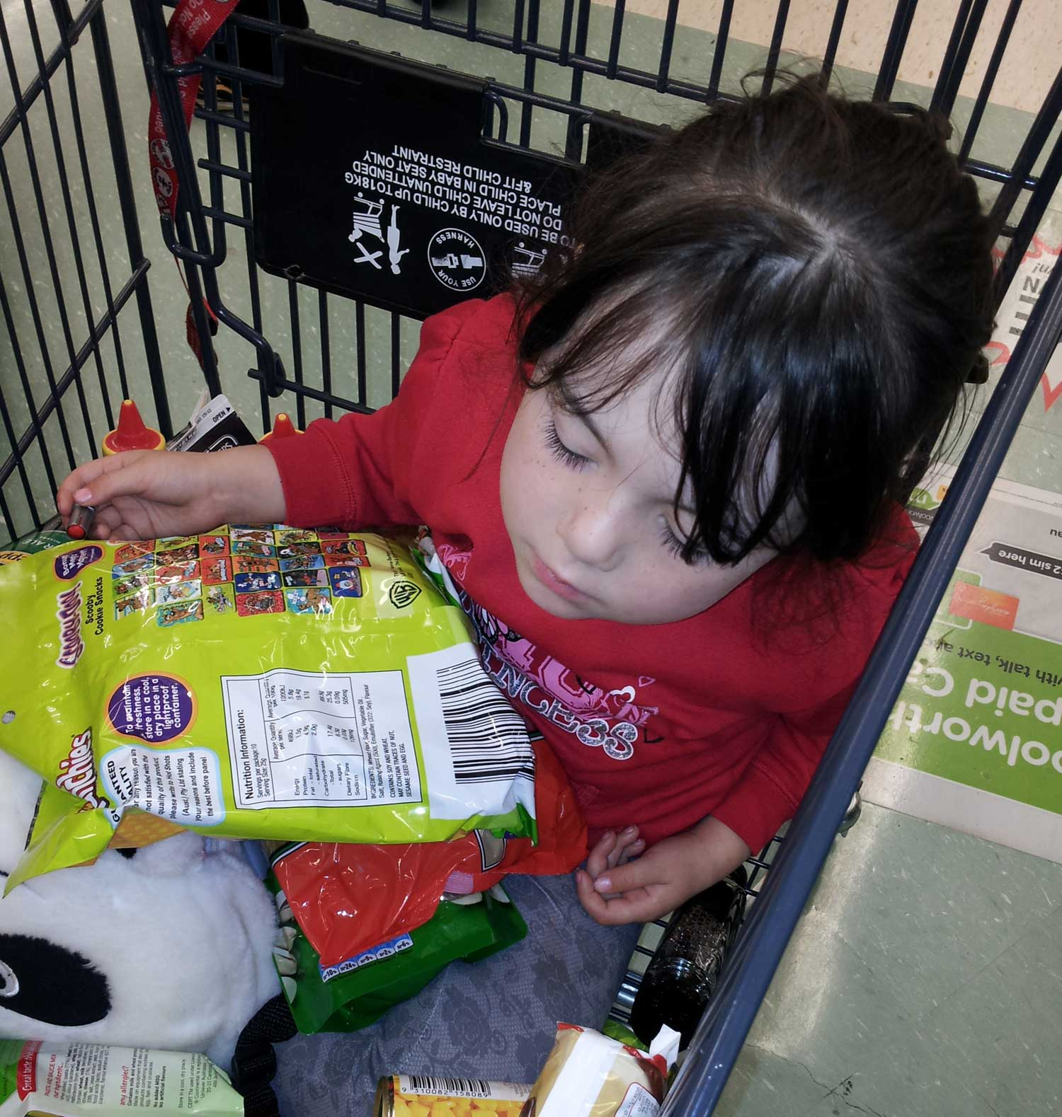 Tookii things to do with kids sleeping in shopping trolley one of the activities for kids
