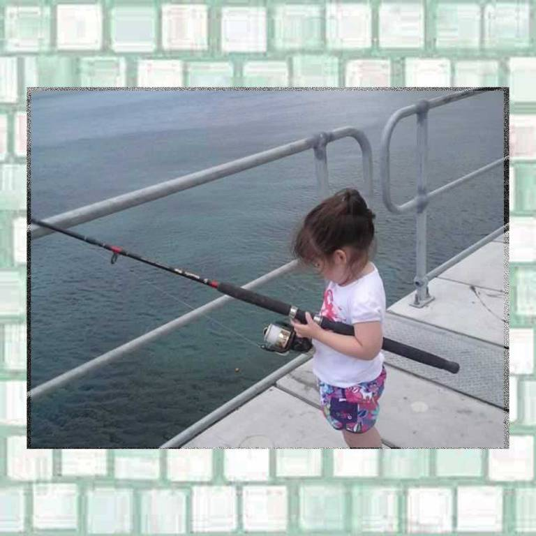 Tookii with a fishing rod